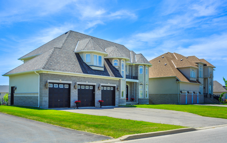 in the suburbs: Custom built luxury house in the suburbs of Toronto, Canada. Stock Photo