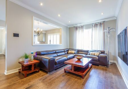 Modern living room interior design with sofa and tv