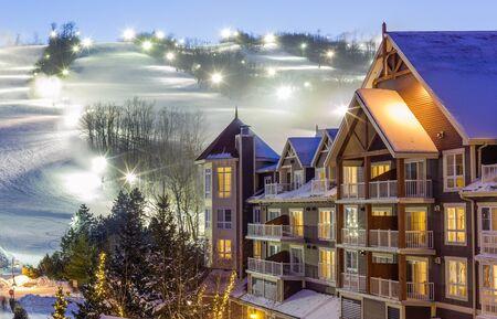 Blue Mountain Village in winter Stok Fotoğraf