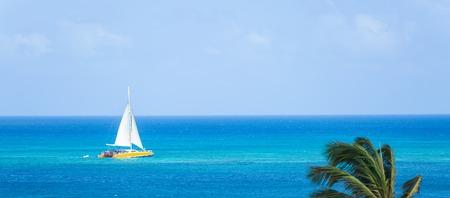 Catamaran at the tropical beach of Aruba