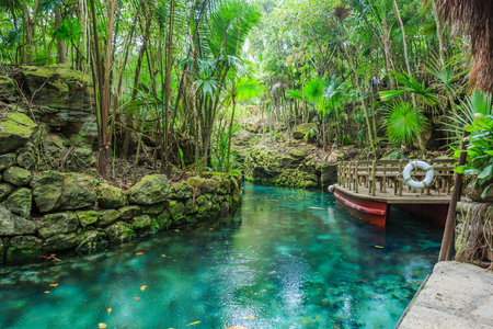 Blue river in Xcaret, Mexico 스톡 콘텐츠