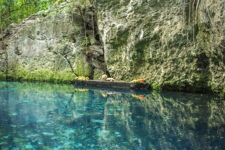 Blue river in Xcaret, Mexico Stock Photo