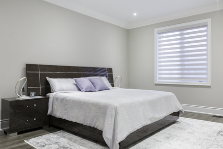 Bedroom interior in a new house. Interior design