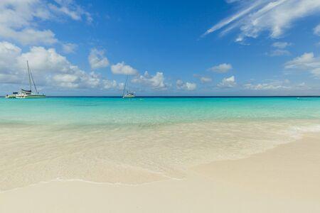 Catamarans at the tropical beach of Curacao
