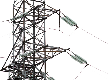 insulators: High-voltage support and insulators for power lines isolated on a white background Stock Photo