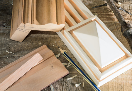 fabrication: process layout and fabrication of elements and parts of furniture, carpentry Stock Photo