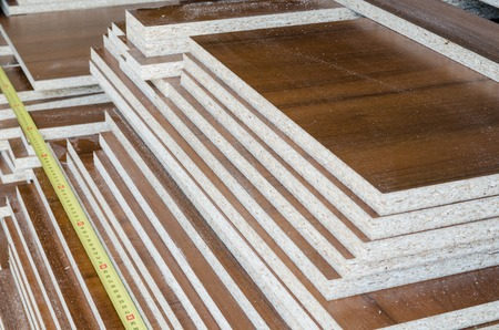 chipboard: board chipboard cut parts for furniture production close-up Stock Photo