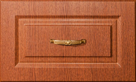 fronts: wooden oak furniture fronts with a handle on the drawer