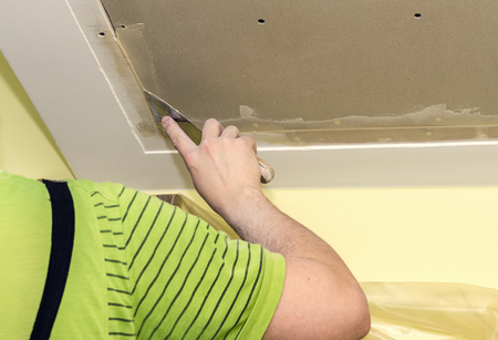 puttying drywall seams Stock Photo