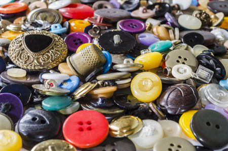 Background of a large number of old buttons Stock Photo