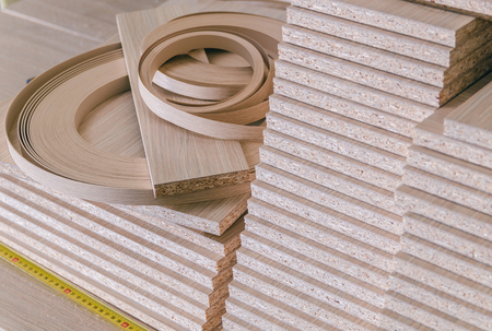 board chipboard cut parts Stock Photo