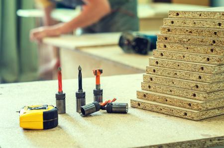 machinery: board chipboard cut parts Stock Photo