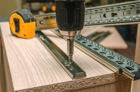 Assembling of furniture closeup