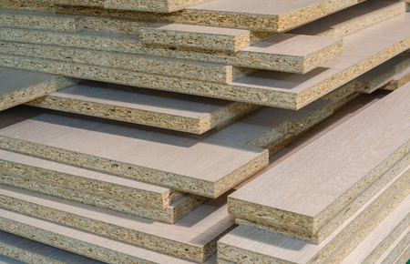 board chipboard cut parts for furniture production close-up Stok Fotoğraf