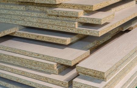 board chipboard cut parts for furniture production close-up Banco de Imagens