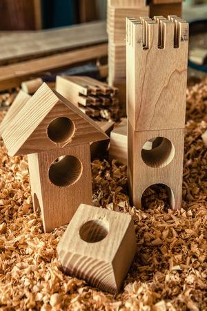 Childrens wooden designer from blocks of a different form Standard-Bild - 122266709