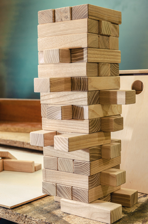 Wooden beech sticks for a family game close-up in a carpentry workshop 스톡 콘텐츠