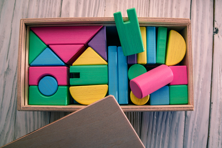Childrens wooden designer from blocks of a different form