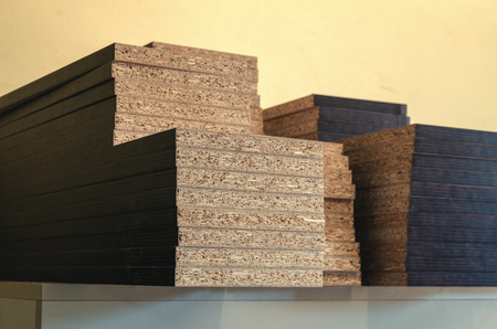 board chipboard cut parts for furniture production 스톡 콘텐츠
