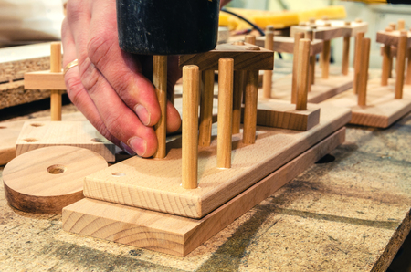 Carpentry workshop for the manufacture of wooden toys 스톡 콘텐츠 - 122267074