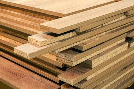 board chipboard cut parts for furniture production close-up 스톡 콘텐츠 - 122267078