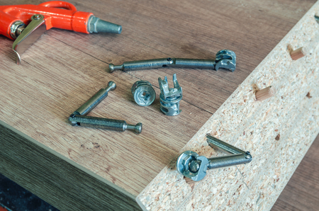 Carpentry workshop, work processes, tools and workpieces close-up 스톡 콘텐츠