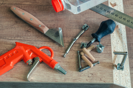 Carpentry workshop, work processes, tools and workpieces close-up 스톡 콘텐츠 - 123354633