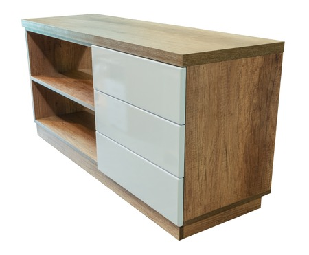 Wooden cabinet furniture on a white background 스톡 콘텐츠 - 123354726