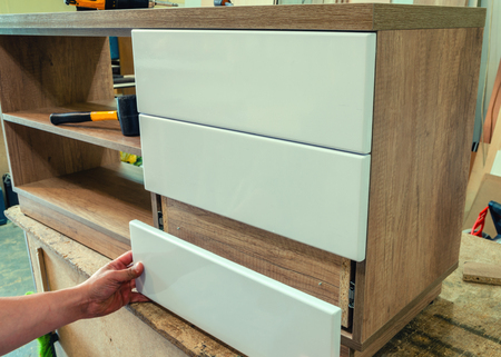 Assembly of furniture in the carpentry workshop