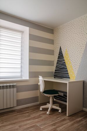 Workplace at the desk, in the children's room, home furnishings, close-up Stockfoto