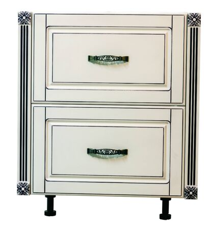 Wooden cabinet furniture with drawers on a white background