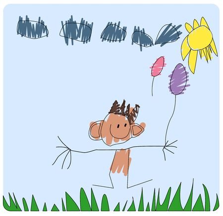 Childs drawing, little boy who holds balloons