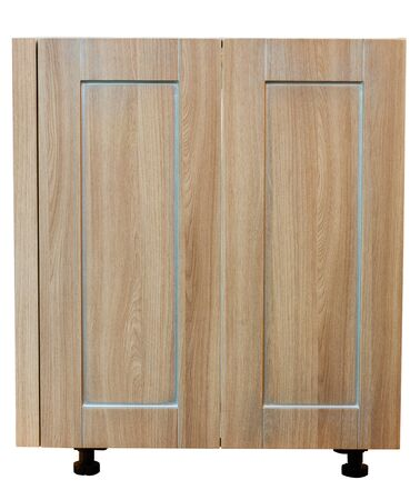 Wooden cabinet furniture with drawers on a white background Stock Photo