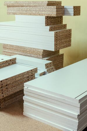 board chipboard cut parts for furniture production 免版税图像