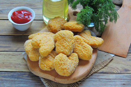 semifinished: Instant food raw chicken nuggets already ready for cooking