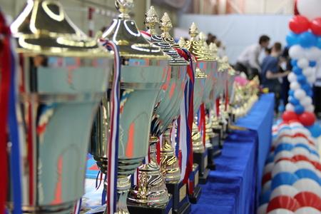 Pokale stehen auf dem Tisch, um die Gewinner des Taekwondo zu ehren