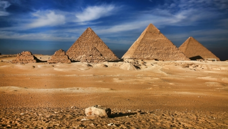 egyptian pyramids: Miracle of the world, The Egyptian pyramids Stock Photo