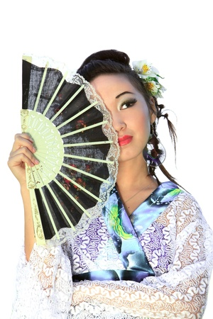 The Japanese has control over a fan on a white background Stock Photo - 9349064