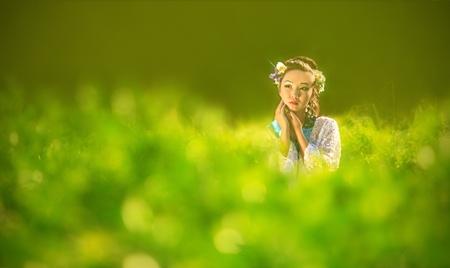 Die Japaner auf einem grünen Hintergrund