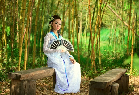 The young girl - the Japanese dressed in a kimono, is on the nature Stock Photo - 9416519