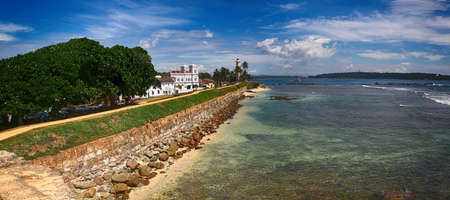 southern sri lanka: Full view of the sea port of Galle in Sri Lanka with a lighthouse Editorial