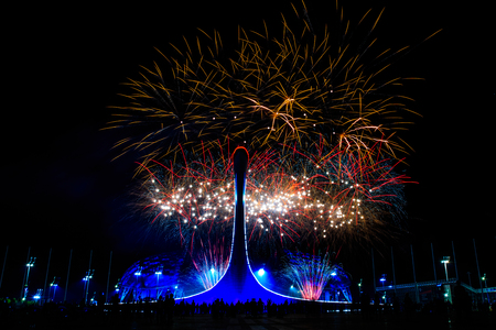 Salute on the Olympic embankment in Sochi against the background of the Olympic flame Lizenzfreie Bilder
