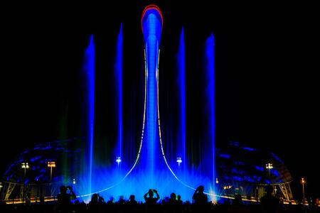 Light-musical representation of a fountain in the Olympic park of Sochi