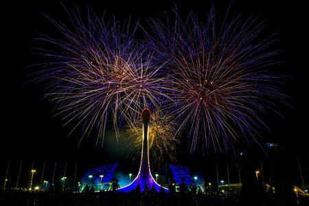 Salute auf dem Olympischen Damm in Sotschi vor dem Hintergrund der olympischen Flamme Standard-Bild