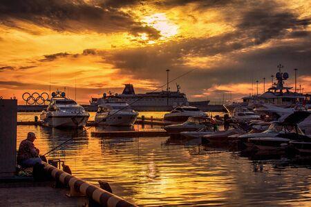 beautiful sky on the black sea coast with ships