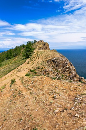 headland: The most northern headland of island Olkhon on lake Baikal - headland Hoboj