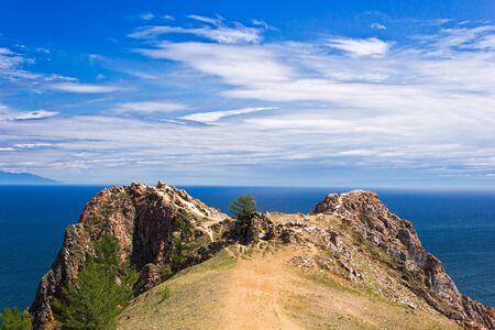 spaciousness: Cape Shunte-left Love Cape on east coast of island Olkhon on lake Baikal Stock Photo