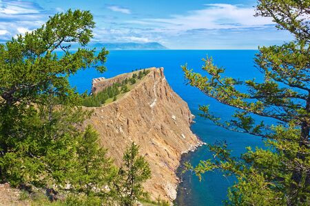 headland: The most northern headland of island Olkhon on lake Baikal - headland Hoboj