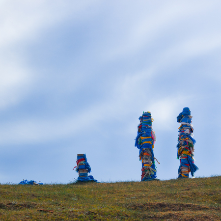 sacrifices: Sacred piles which are places of sacrifices to the Buryat pagan gods. Are on island Olkhon, lake Baikal.