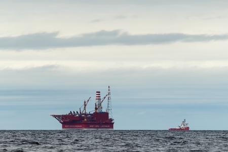 greenpeace: Buoyant offshore oil production platform on a marine shelf